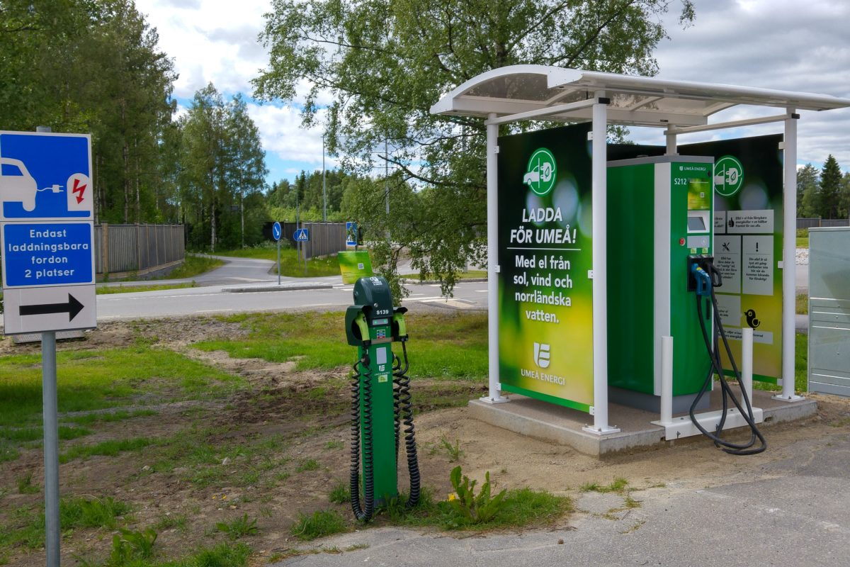 Green electric car charging depot