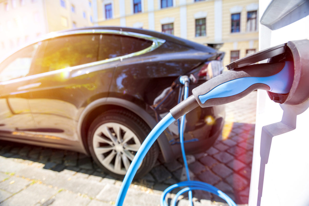 Black electric car charging