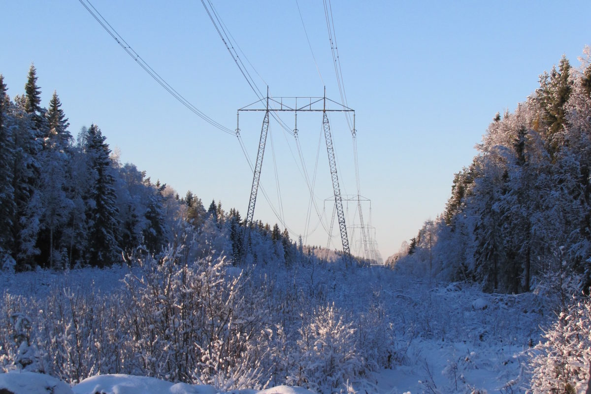 Power grid across snowy land