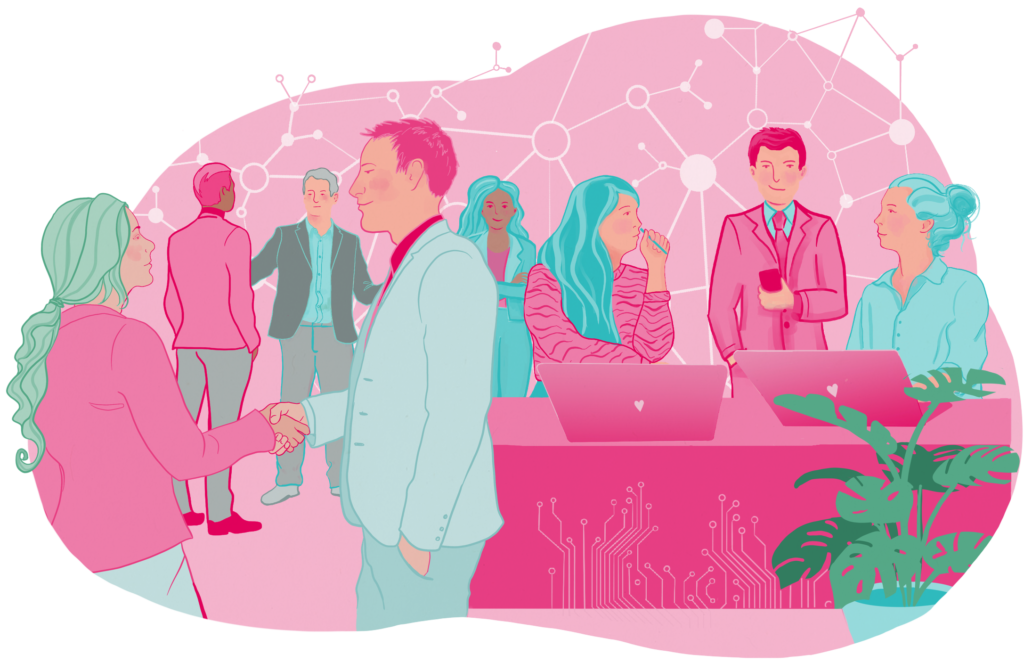 Pink and teal network illustration