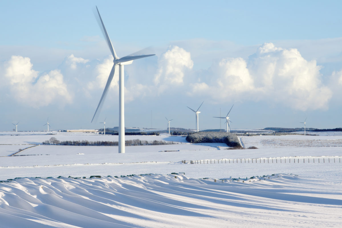 Several windmill in a snowy terrain