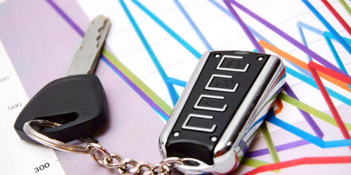 Car key in a keychain